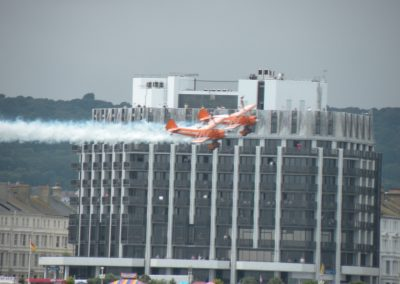 Wingwalkers do fly by on GMB building.